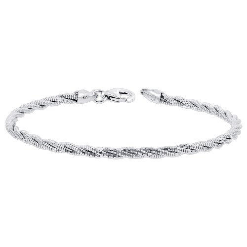 Sterling Silver Twisted Rope Chain 7.5 Inch Bracelet with Lobster Clasp