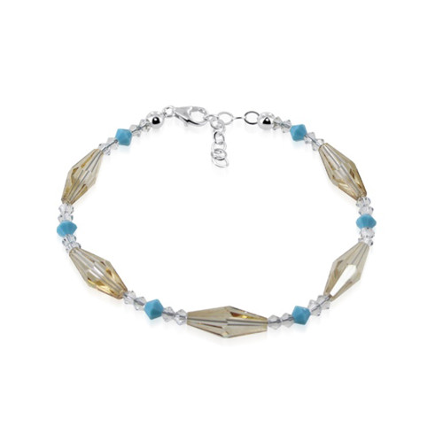 Sterling Silver Swarovski Elements Brown & Blue Crystal 7 inch Bracelet for Women