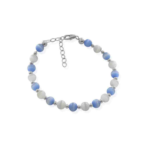 Blue and White 6mm Swarovski Elements Cats Eye 7 inch Sterling Silver Bracelet