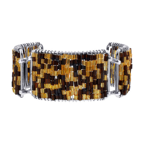 Brown and Gold Glass Beads Silver Tone Link Bracelet 7 Inch Long
