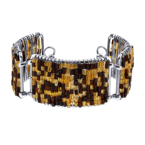 Brown and Gold Glass Beads Silver Tone Link Bracelet