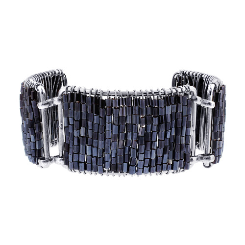 Silver Tone Simulated Hematite Color Glass Beads Link Bracelet 7 Inch Long