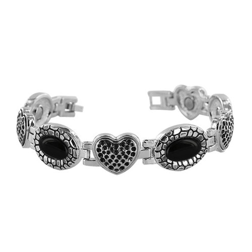 Black Oval Stone and Heart Magnetic Therapy 7 inch Long Link Bracelet