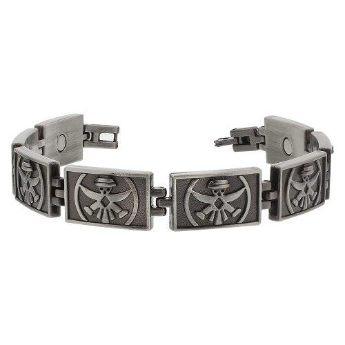 Oxidized Finish Puppet Engraved Magnetic Therapy 8.5 inch Links Bracelet