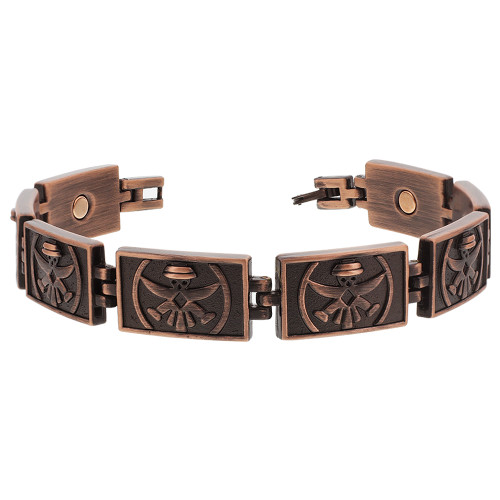 Copper Clad Finish Magnetic Therapy Puppet engraved Link 8.5 inch Bracelet