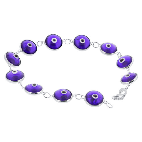 Blue Evil Eye Beads with 925 Sterling Silver Lobster Clasp 7 Inch Bracelet