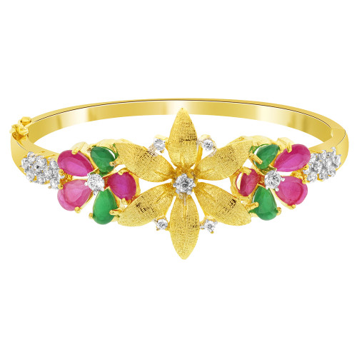 Flower Shape Ruby Glass and Emerald Cubic Zirconia Gold Plated Bangle Bracelet Size 2.4