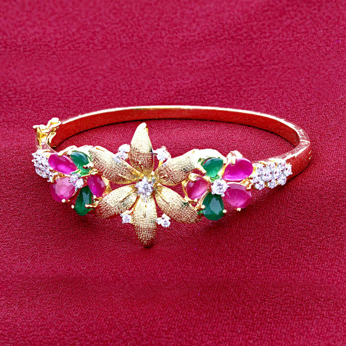 Ruby Glass and Emerald CZ Gold Plated Bangle Bracelet