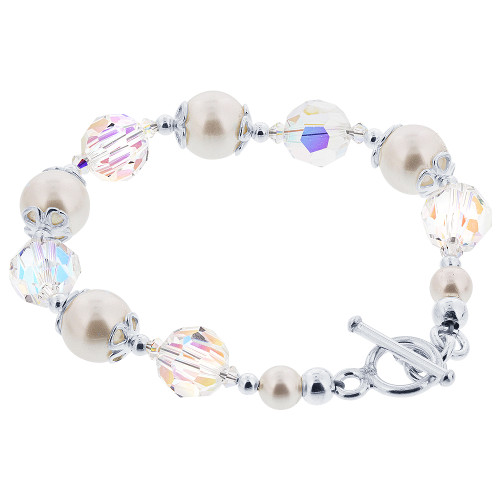 10mm White Faux Pearl With Swarovski Elements Crystal 8 inch Sterling Silver Bracelet