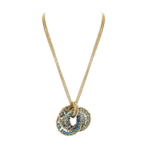 Gold Tone Intricate Circle with Round Blue AB Beads Link Chain Adjustable Necklace