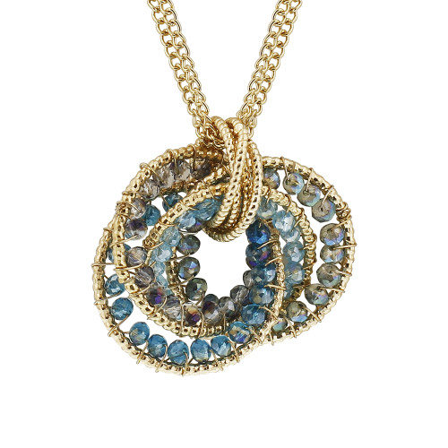 Gold Tone Blue AB Beads Link Chain Adjustable Necklace