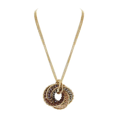 Gold Tone Intricate Circle with Light Purple AB Beads Link Chain Adjustable Necklace