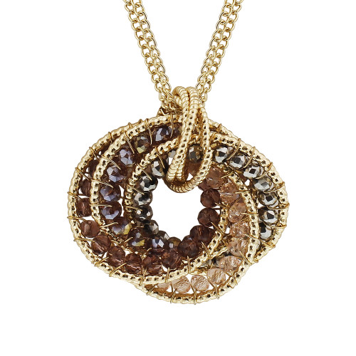 Gold Tone Purple AB Beads Link Chain Necklace