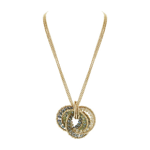 Gold Tone Intricate Circle with Green Clear AB Beads Link Chain Adjustable Necklace