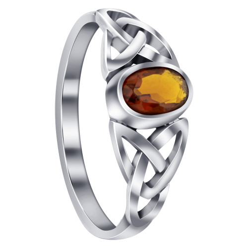 925 Sterling Silver Celtic Ring with Synthetic Garnet Gemstone