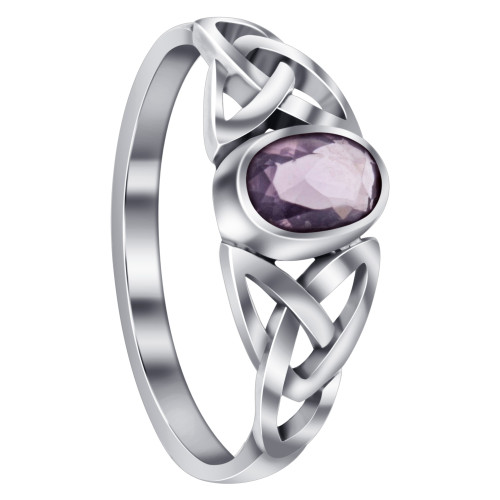 925 Sterling Silver Celtic Ring with Synthetic Amethyst Gemstone