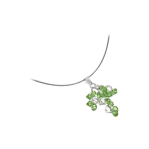 Swarovski Green and Clear Crystal 925 Sterling Silver Omega Chain Necklace