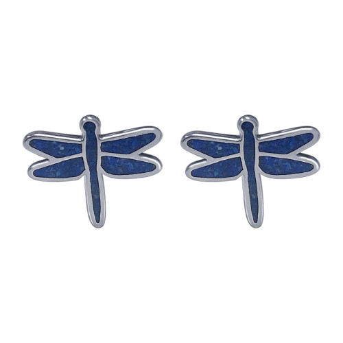 925 Sterling Silver Genuine Lapis Lazuli Gemstone Dragonfly Earrings