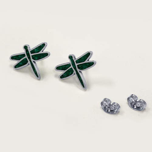 Genuine Malachite Gemstone Dragonfly Earrings
