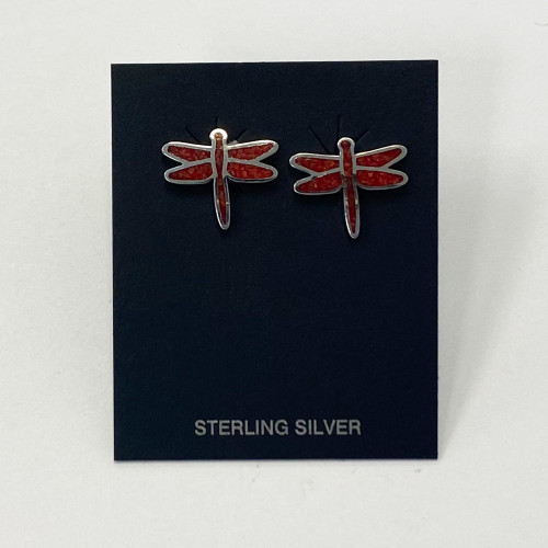 Sterling Silver Coral Gemstone Earrings
