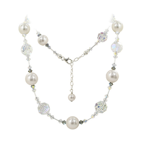 Simulated Pearl Swarovski Elements Clear Crystal Sterling Silver Necklace