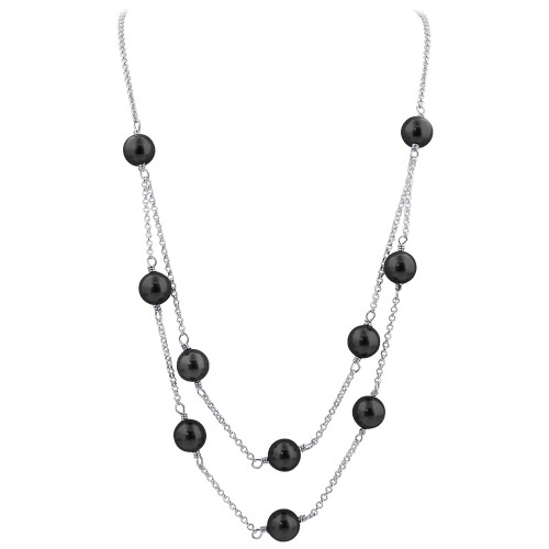 Gray Simulated Pearl Strands Swarovski Crystal Sterling Silver Necklace