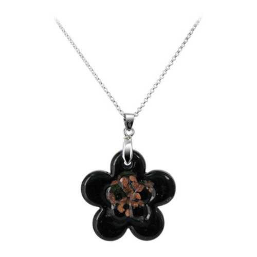 1.5 x 1.3 inch Flower Black Color 7mm Thick Glass Stainless Steel Bail Pendant