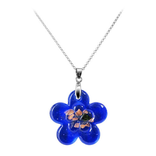 1.5 x 1.3 inch Flower Floral Blue Color 7mm Thick Glass Stainless Steel Bail Pendant