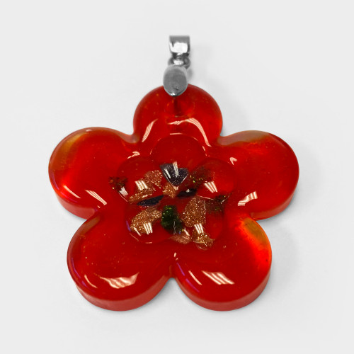 1.5 x 1.3 inch Flower Red Color Floral Designed Thick Glass Stainless Steel Bail Pendant