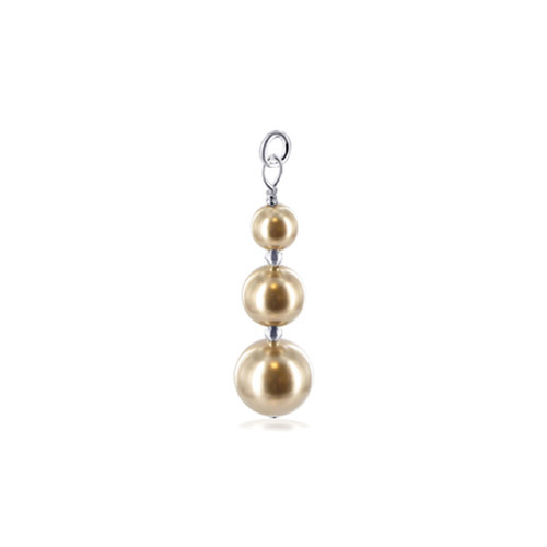 925 Sterling Silver Simulated Pearl Charm Pendant