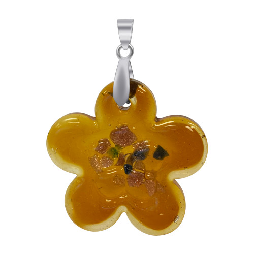 1.5 x 1.3 inch Flower Designed 7mm Thick Glass Stainless Steel Bail Pendant