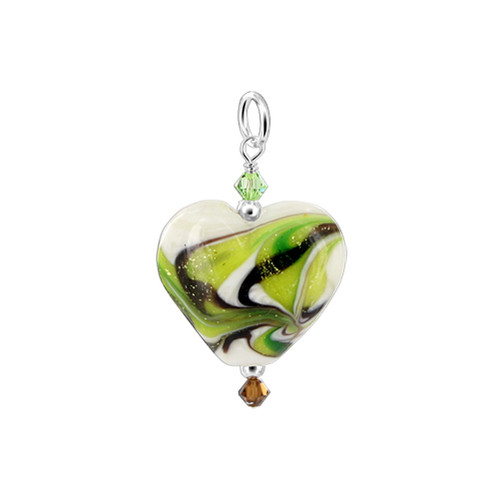 925 Silver Heart Shaped Blown Glass with Swarovski  Crystal Pendant