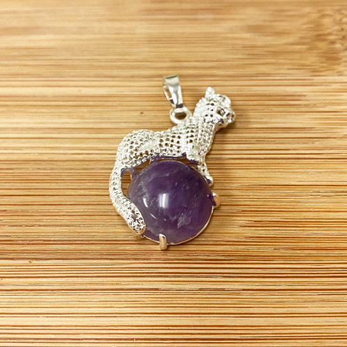 Cheeta Genuine Amethyst Gemstone Pendant