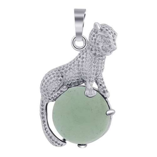 Cheetah Genuine Amazonite Gemstone Stainless Steel Pendant