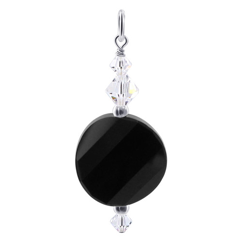 Multifaceted Black Crystal 925 Silver Charm Pendant