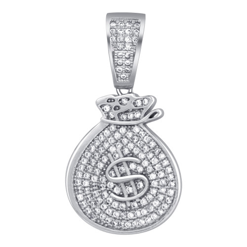 925 Sterling Silver Cubic Zirconia Money Bag Pendant