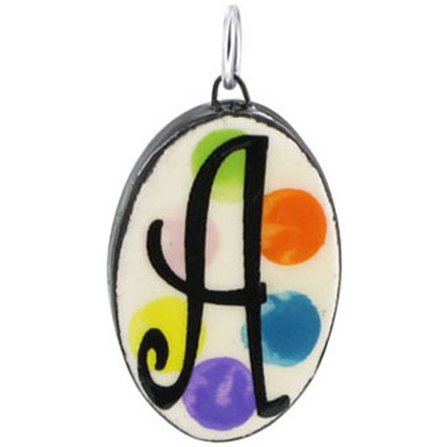 """925 Silver Ceramic Hand Painted Initial """"A"""" Bail Pendant"""