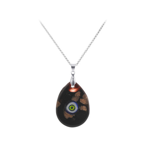 1.5 x 1.1 inch Pear Shape Black Glass Stainless Steel Bail Pendant