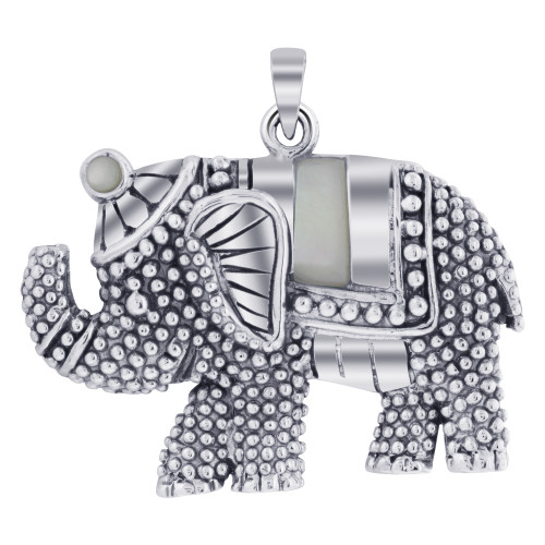 Rhodium Plated 925 Sterling Silver Elephant Bali Design Simulated White Opal Pendant