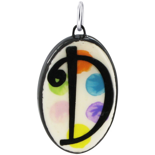 """925 Silver Ceramic Hand Painted Initial """"D"""" Bail Pendant"""