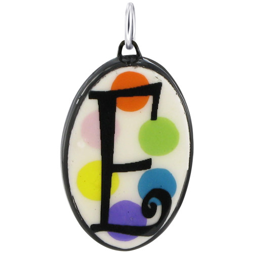 """925 Silver Ceramic Hand Painted Initial """"E"""" Bail Pendant"""