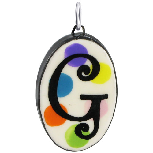 """925 Silver Ceramic Hand Painted Initial """"G"""" Bail Pendant"""