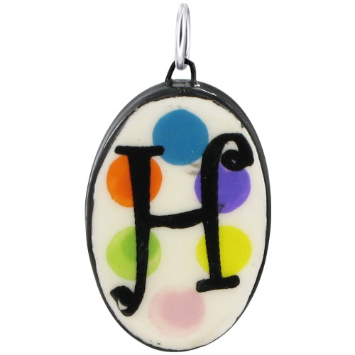 """925 Silver Ceramic Hand Painted Initial """"H"""" Bail Pendant"""