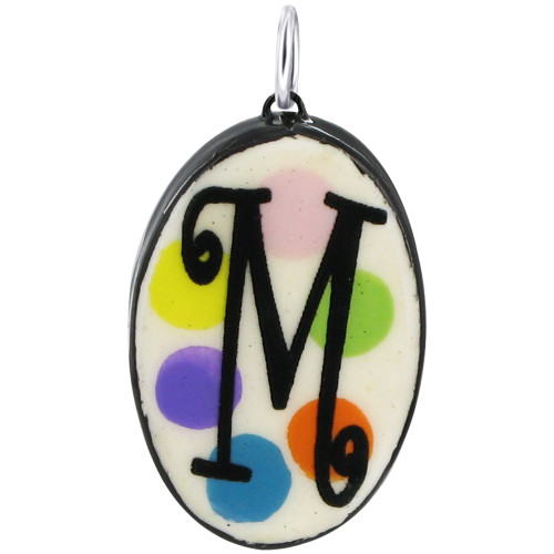 """925 Silver Ceramic Hand Painted Initial """"M"""" Bail Pendant"""