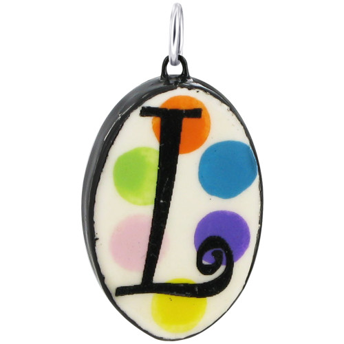 """925 Silver Ceramic Hand Painted Initial """"L"""" Bail Pendant"""