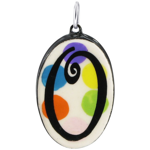 """925 Silver Ceramic Hand Painted Initial """"O"""" Bail Pendant"""