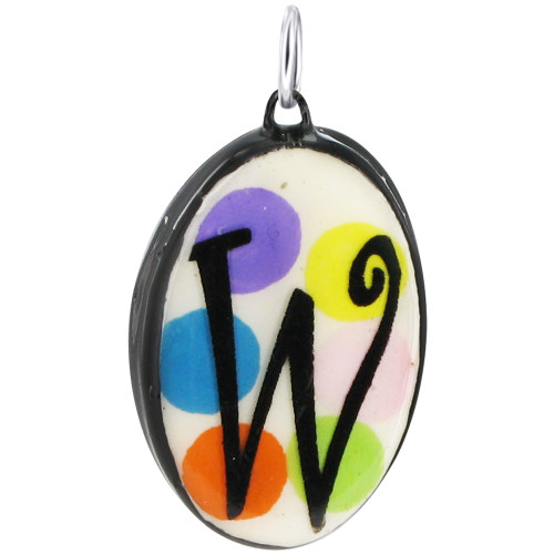 """925 Silver Ceramic Hand Painted Initial """"W"""" Bail Pendant"""