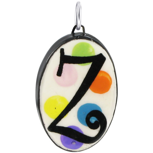"""925 Silver Ceramic Hand Painted Initial """"Z"""" Bail Pendant"""