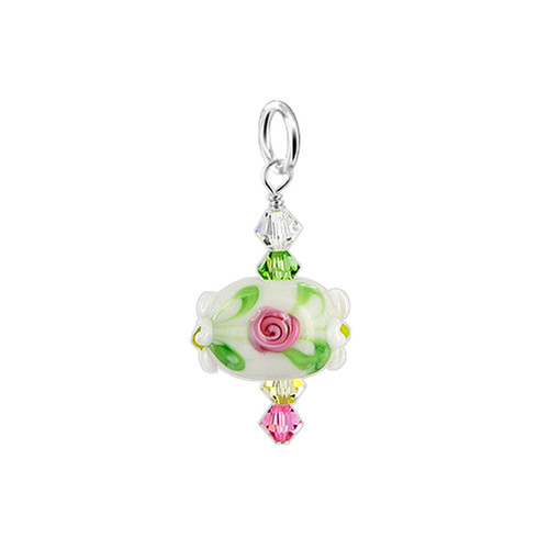 925 Silver Crystal and Blown Glass Charm Pendant