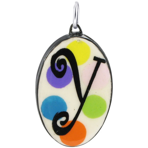 """925 Silver Ceramic Hand Painted Initial """"Y"""" Bail Pendant"""